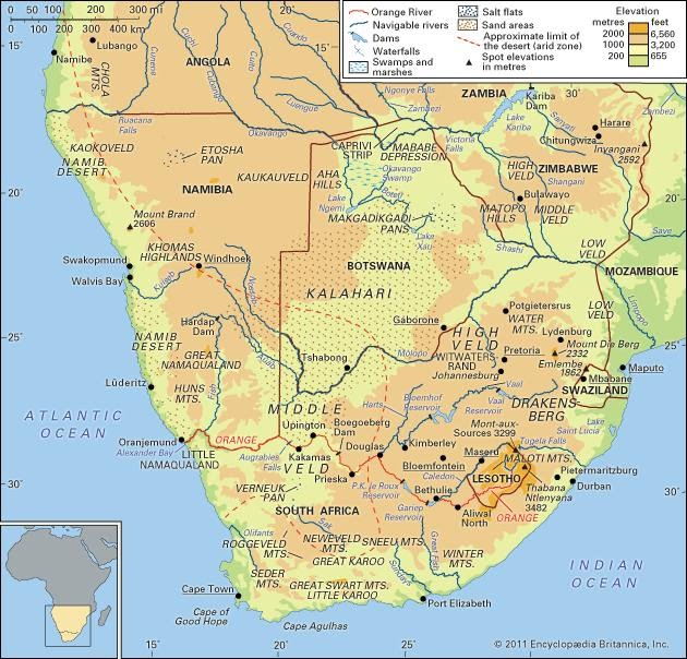 southern africa map images