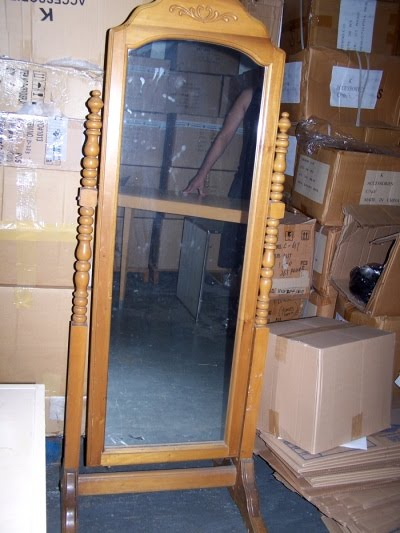 Antique Style 5 foot tall wooden MIRROR - $45