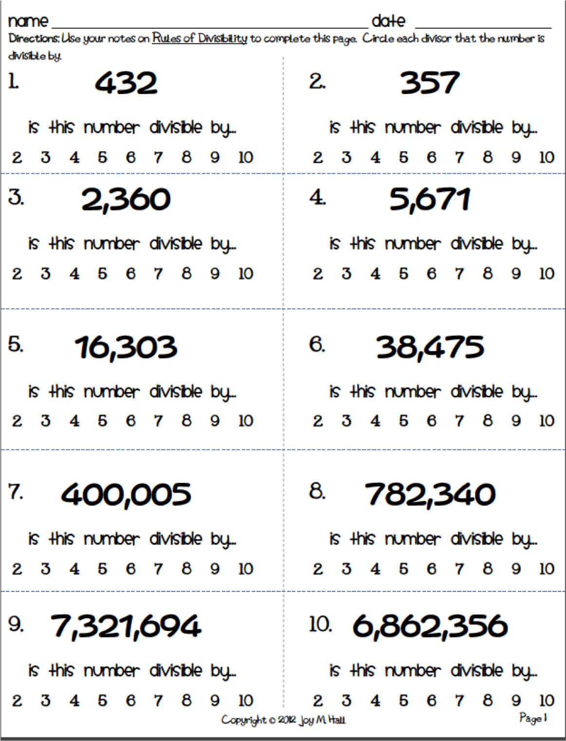divisibility rules worksheets Termolak – Divisibility Worksheets