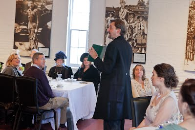 Director of Museum Operations Bill Schroh greets guests at Liberty Hall's first Downton Abbey-themed brunch on January 19, 2013. Photo by Ben Gancsos.