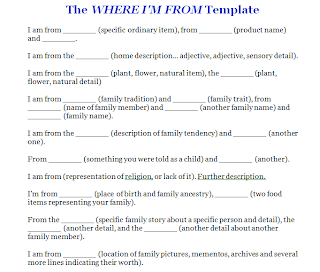 Week 21 where i 39 m from prepositional phrases ms slay for Where i am from poem template