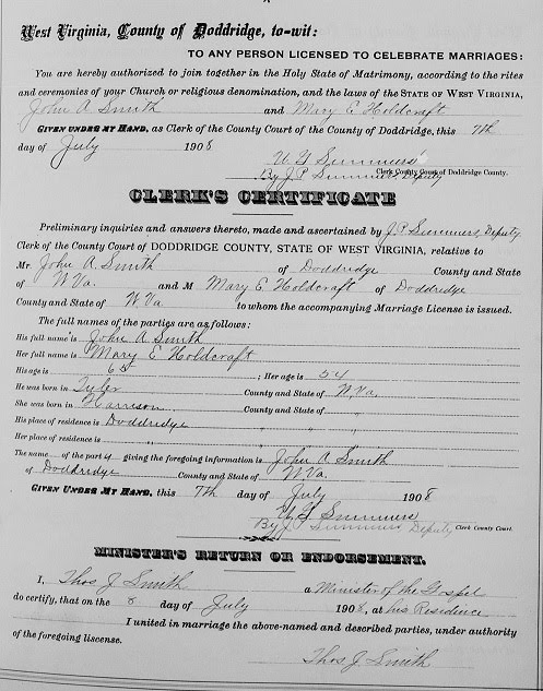 doddridge co w va marriage record