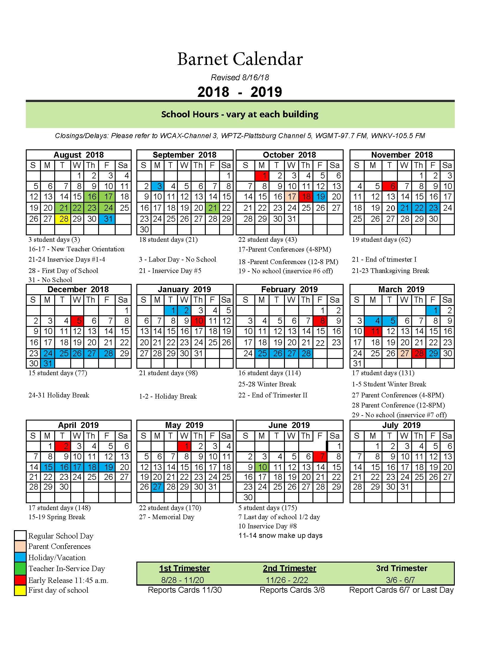 2018 19 school calendar