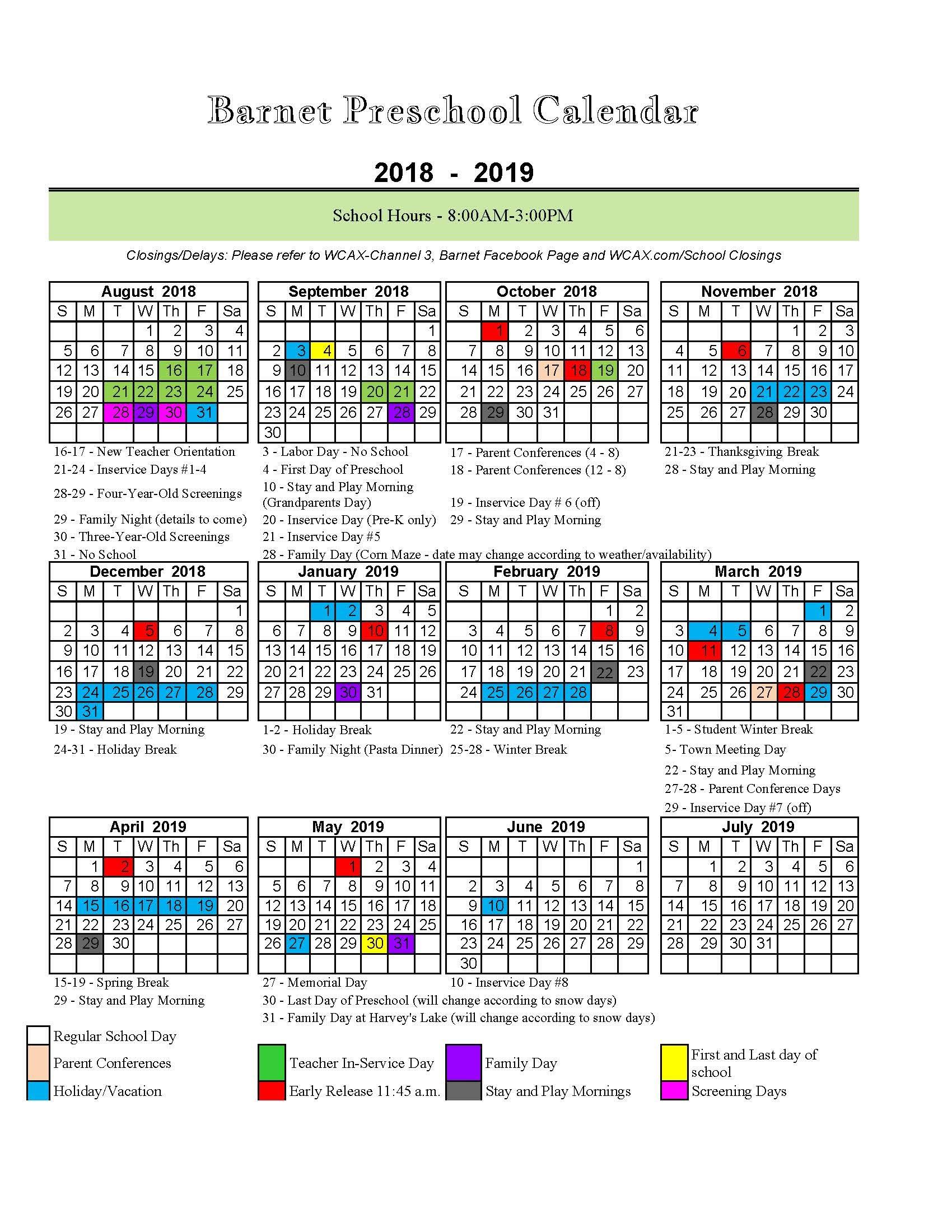 2019 Calendar Please 2018 19 Preschool Calendar   BarSchool