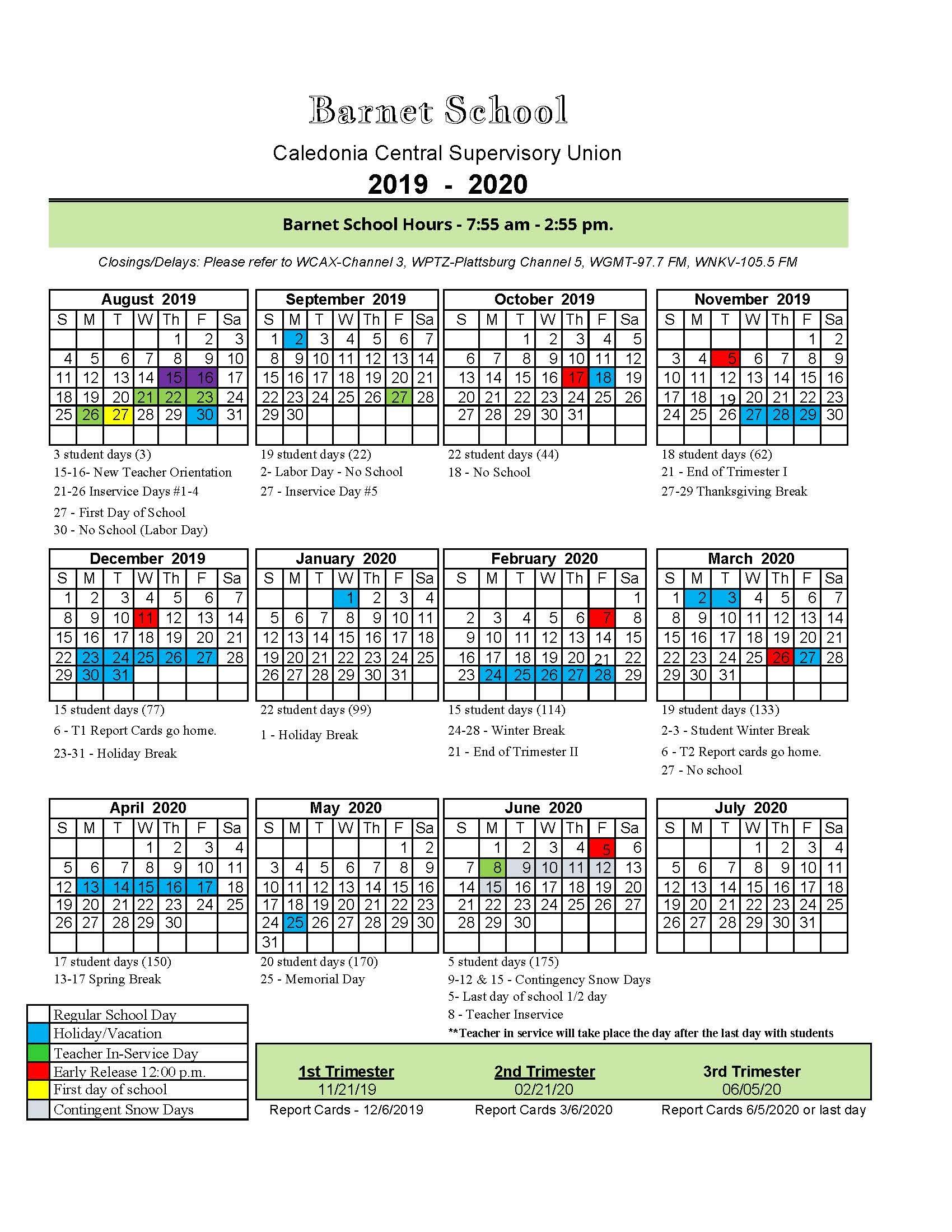 Uvm Calendar 2020 2019 20 School Calendar   BarSchool