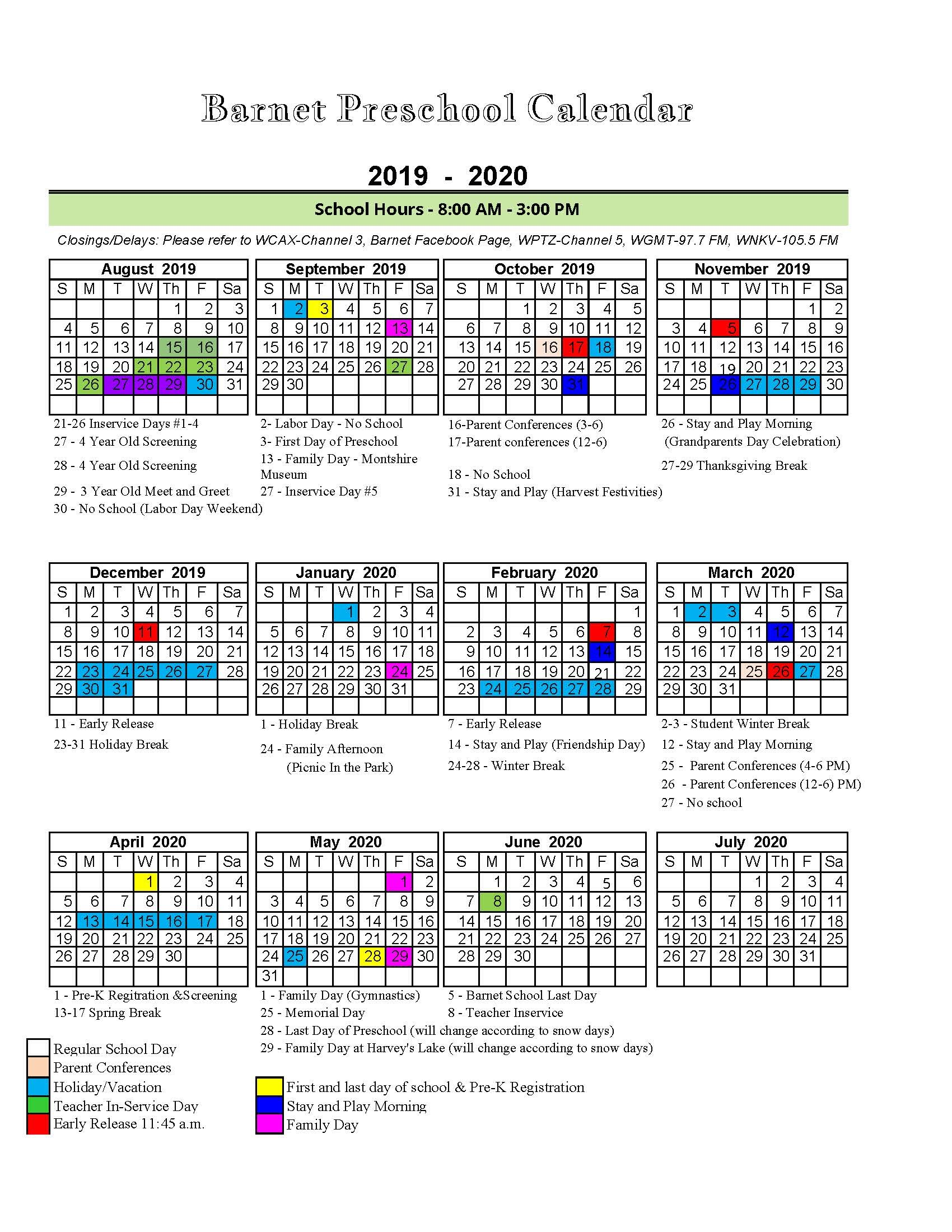graphic about Preschool Calendar Printable named 2019-20 Preschool Calendar - Barnet College or university