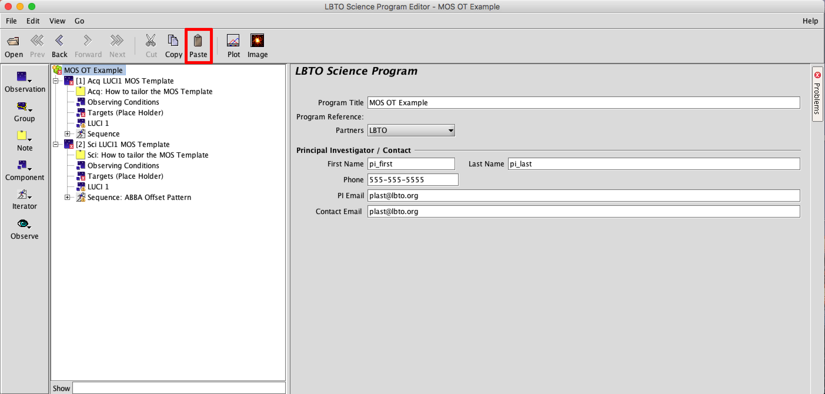 5 Mos Example Observing Tool Manual