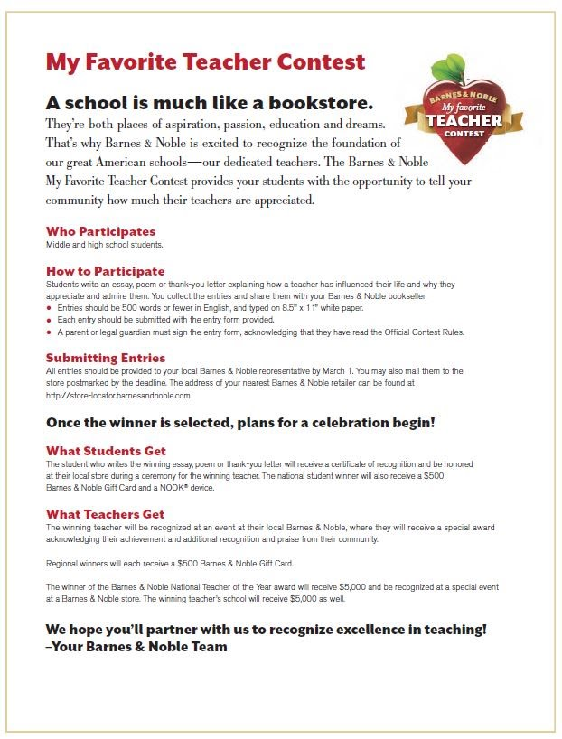 barnes and noble teacher essay 2:00 pm join us as we honor our local 2018 my favorite teacher essay contest finalists and announce our local 2018 barnes & noble favorite teacher essay.