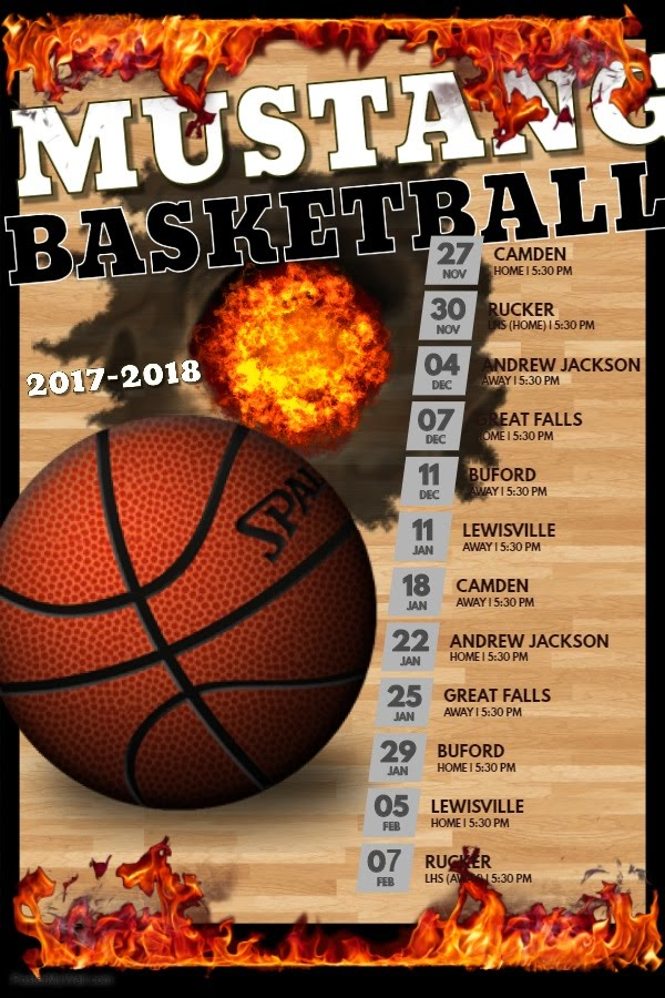 Photo of SMS basketball Schedule. All games start at 5:30 pm. November 27 hostingCamden.November 30 hosting Rucker ar Lancaster high School. December 4 at AJMS. December 7 hosting great falls. December 11 at Buford Middle. January 11 at Lewisville. January 18 T Camden Middle. January 22 hosting AJMS. January 25 at Great Falls. January 29 hosting Buford. February 5 hosting Lewisville. February 8 at Lancaster High facing Rucker