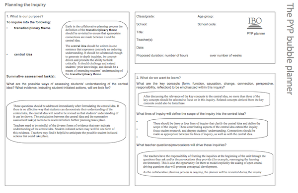 Ib pyp planner template