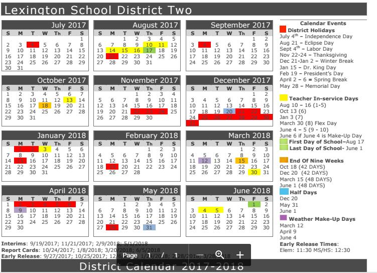 Lexington 2 District Calendar Stem Pltw Launch 2017 2018