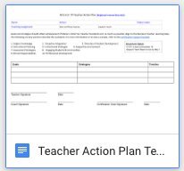 Teacher Action Plan
