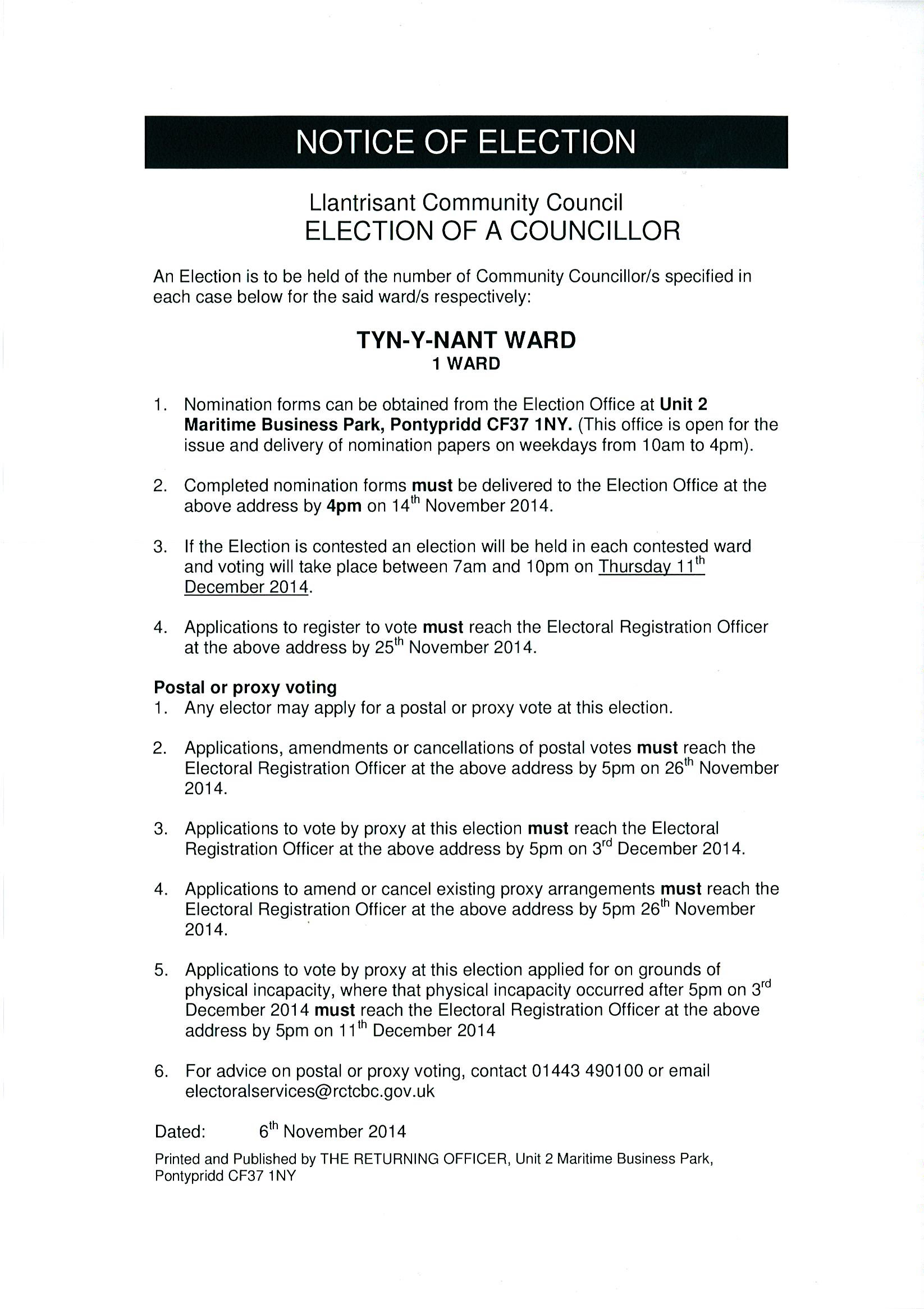 Election for Tynant Ward - Council