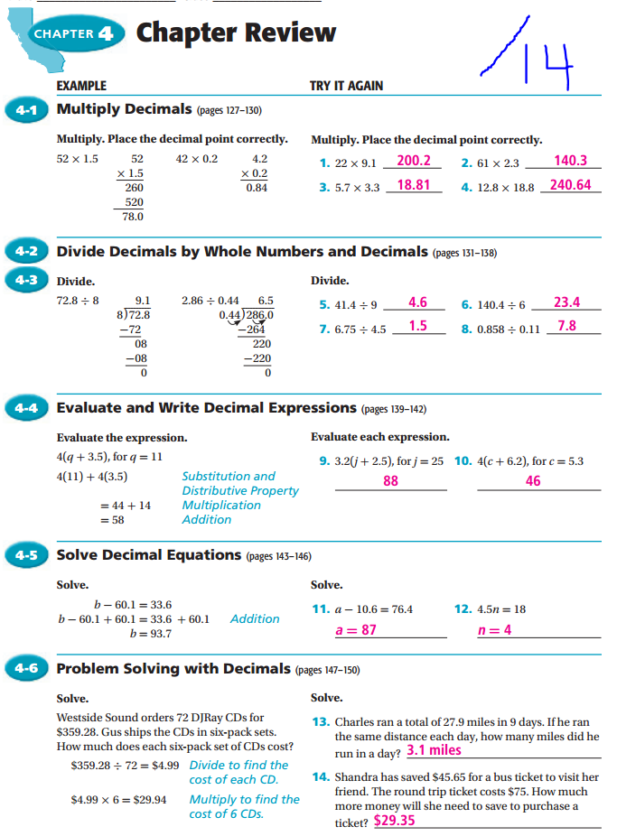 Ch 4 Review ws KEY for scoring - Math 8 - Mr  Lee - Mesa