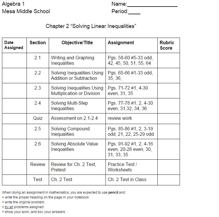 algebra mrs simard algebra 1