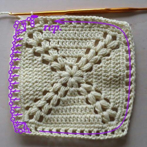 鍵編み四角いモチーフの編み方, how to crochet a granny square, 钩针编织花样