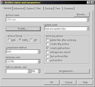 Параметры архивации WinRAR