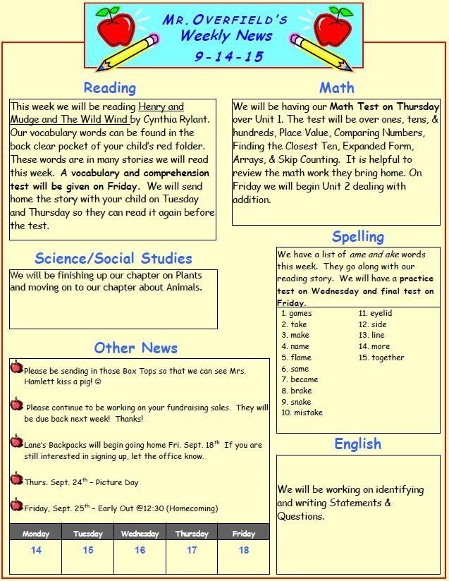 Homework Calendar  Porter School