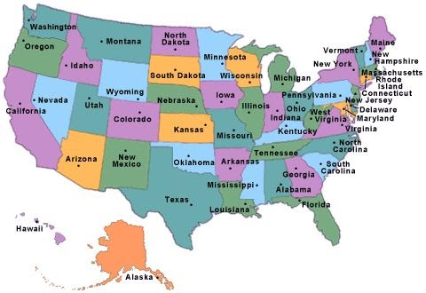 Map Us States Deboomfotografie - Map of the us with state names