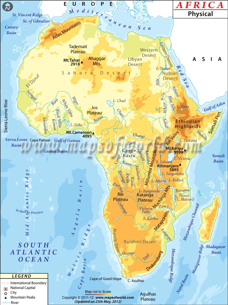5.1 I can create a map of the major physical features in Africa