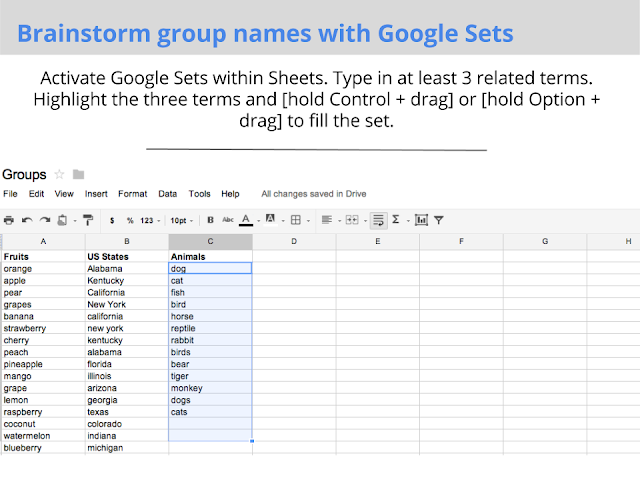 brainstorm group names teaching with google apps