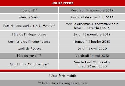 Calendrier Scolaire Mai 2020.Calendrier Gsu La Fontaine Fes