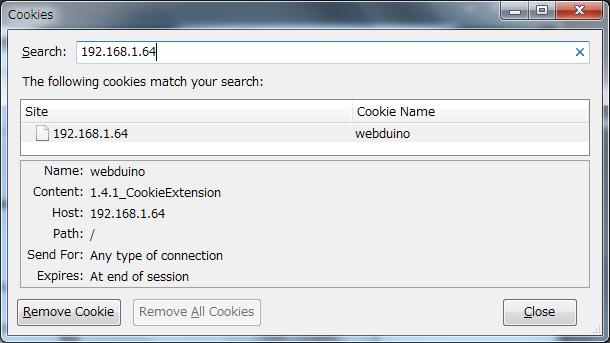 Webduino cookie handler extension arduino lightyearz