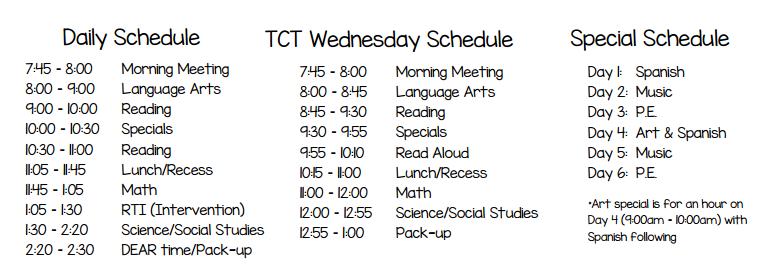 Daily Schedule & Curriculum - Miss McWilliams
