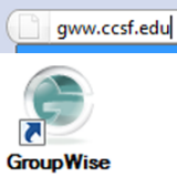 GroupWise web address and Windows version logo