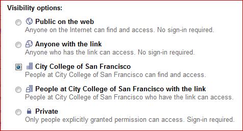 Site sharing setting: Everyone at CCSF