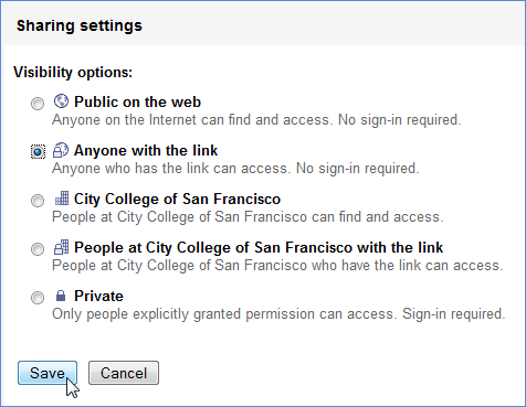 Site sharing setting: Public with link