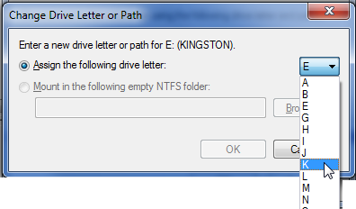 Choosing a new drive letter in Windows 7
