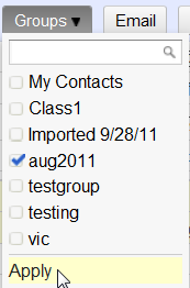 Adding contacts to a group: the Groups pulldown menu