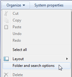 Organize menu showing Folder and search options choice