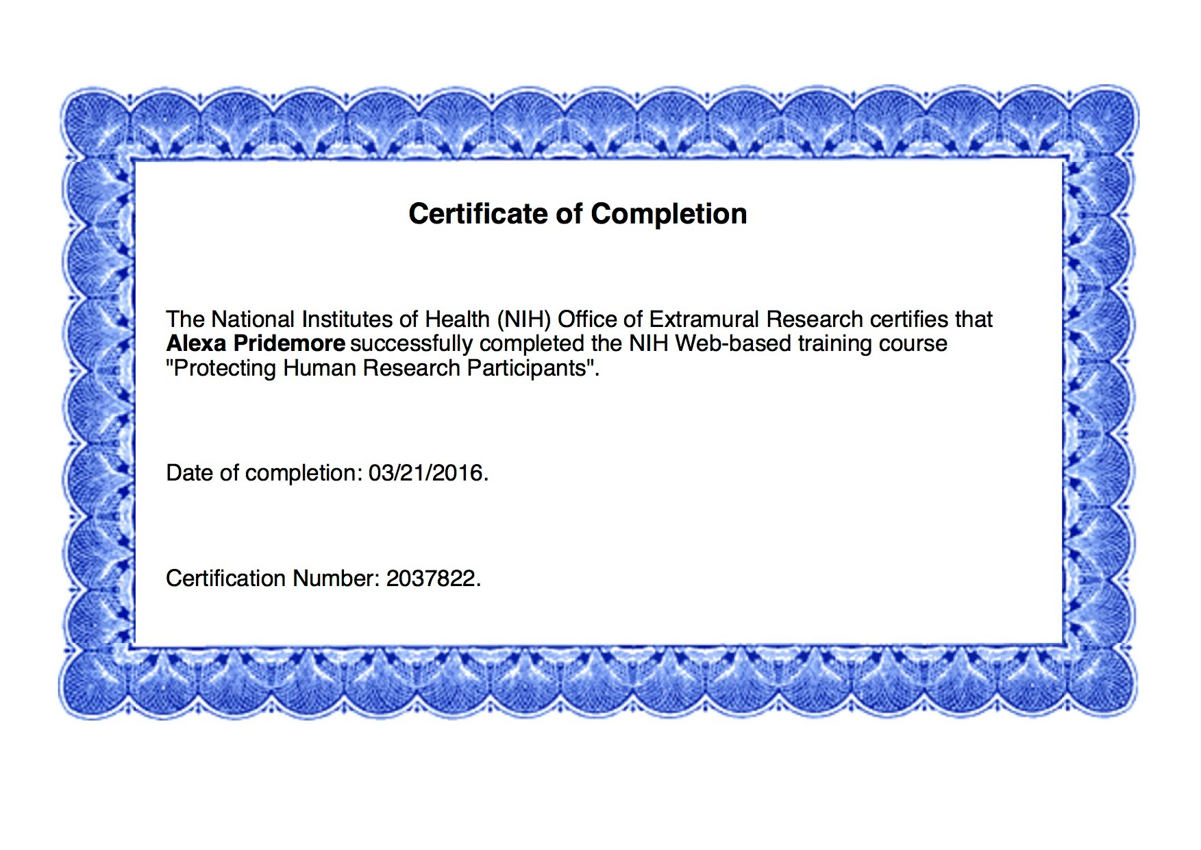 Inspirational collection of nih certification business cards and professional certifications alexa pridemore s professional rn xflitez Image collections