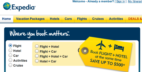 On This Page You Can Choose Whether Or Not Would Like To Search For A Flight Hotel Car Activity Even Cruise