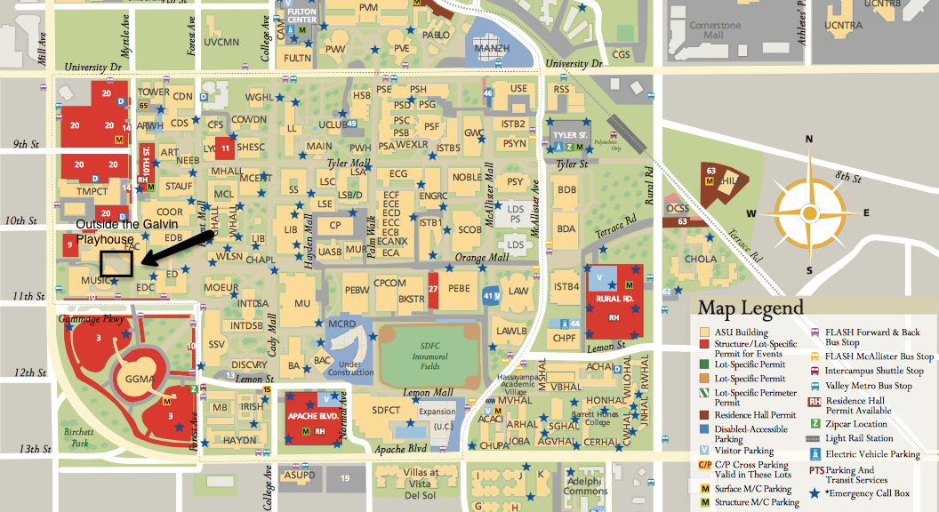 Asu West Campus Map ASU Campus Map   ACDA 2016 West Region Asu West Campus Map