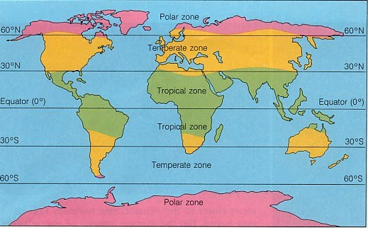 Climate Zones Map Main Climate zones   Mr Carter's IGCSE Geography