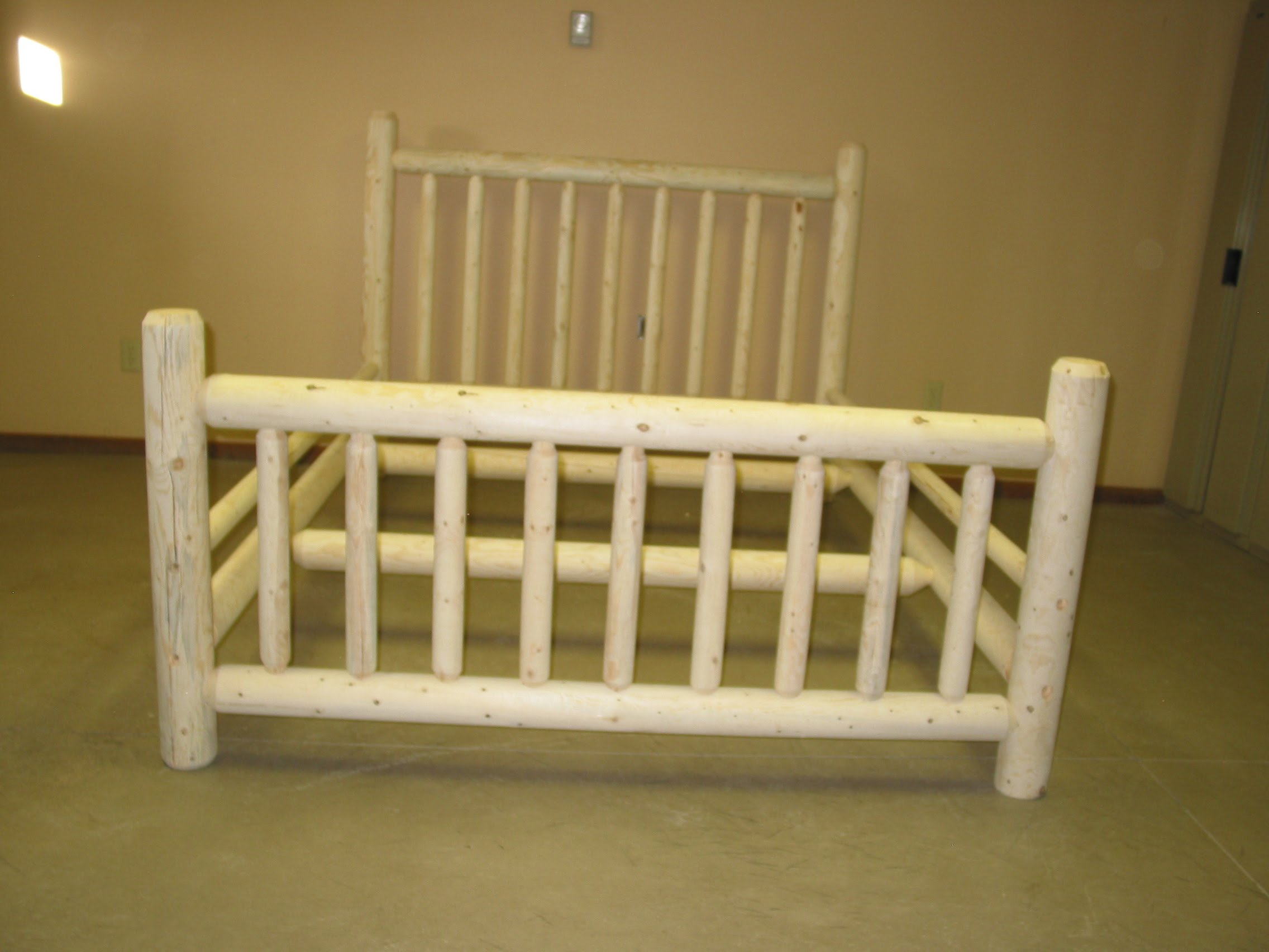 Beautiful This is an example of our standard bed The pieces are manufactured from smooth white Lodgepole pine