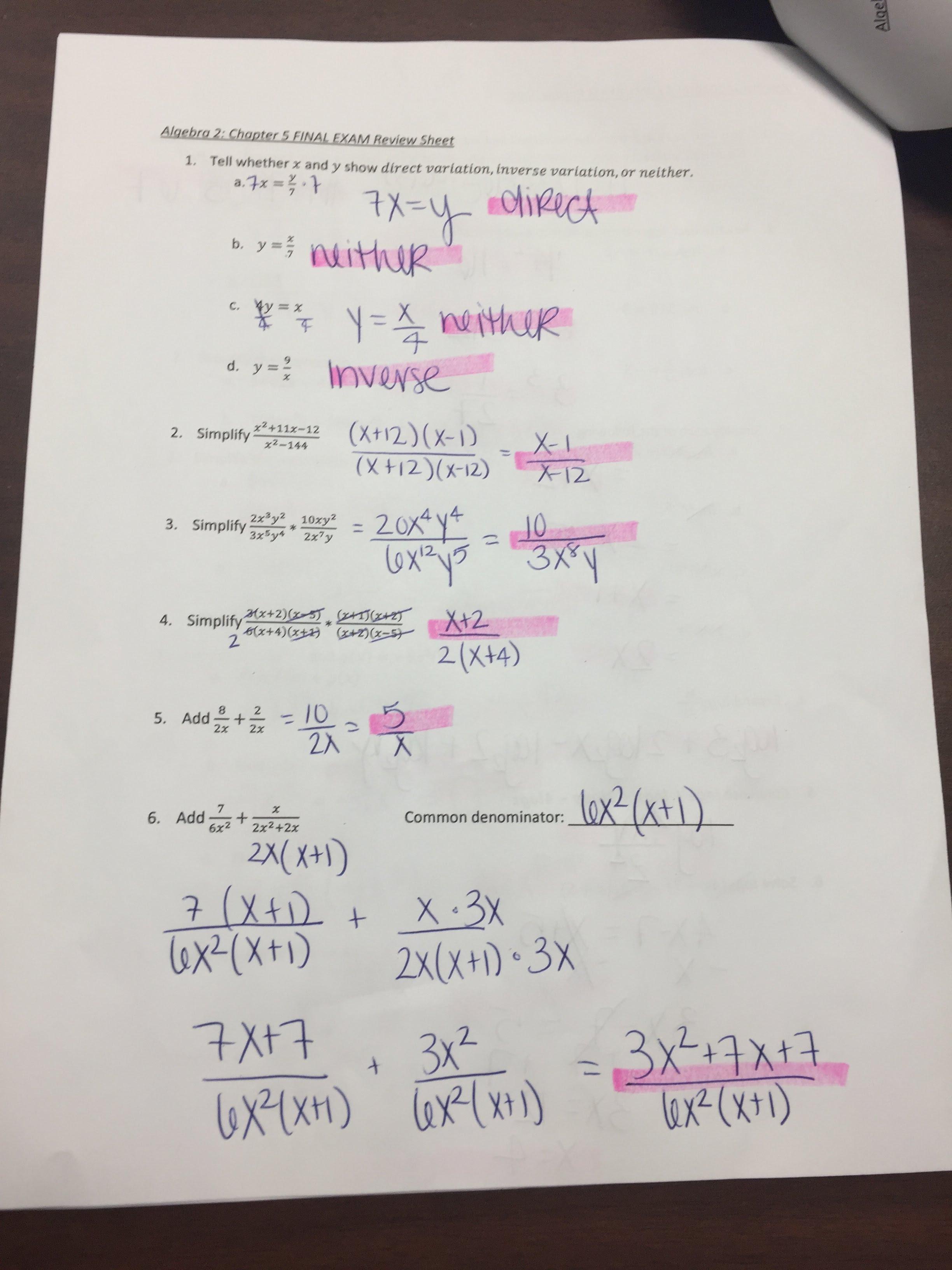 Algebra 2 (8/9) - Moller