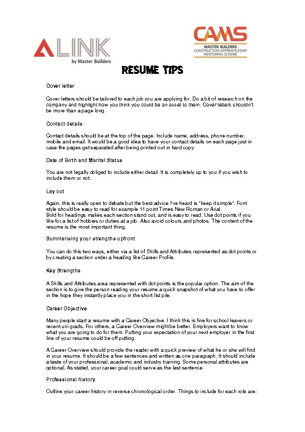resume tips cams