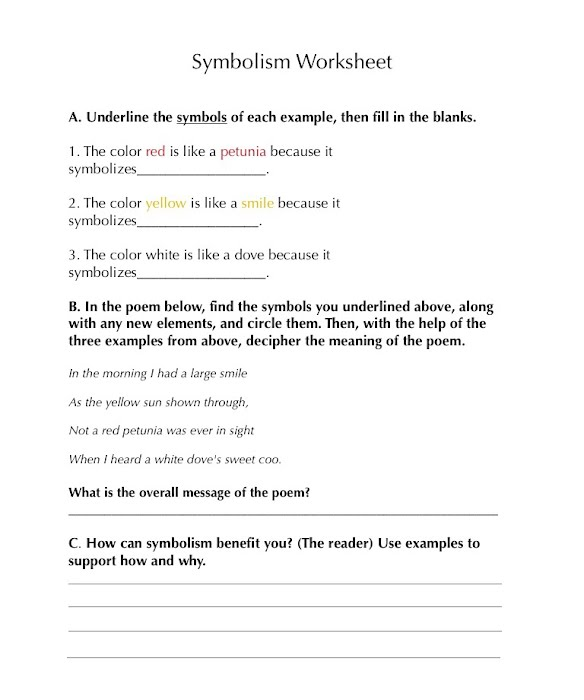 To Kill A Mockingbird Worksheets: Symbolism Worksheet   Symbolism  To Kill a Mockingbird,