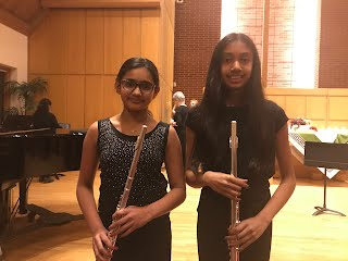 GCMS 6th grader, Asha Chakravartula, and Kromrey 8th grader, Isha Chilukuri, performed in a concert on Saturday, November 2 with the Madison Flute Club's Youth Flute Choir!