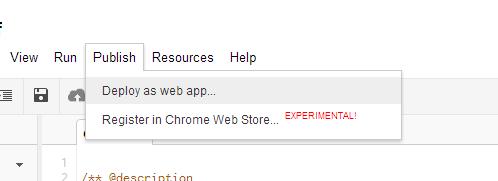 google apps script publish web application