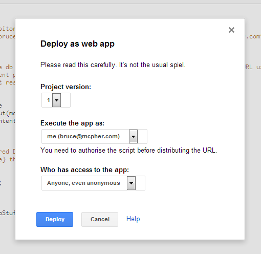 google apps script publish anonymous