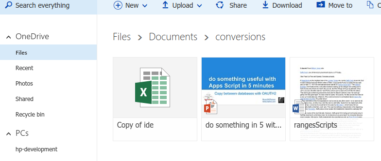 Converting and copying Google Apps files to Microsoft