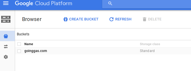 Now You Can Create A Bucket In This Project The Name Needs To Match Cname Record Alias So My Case Its Domain Goinggas