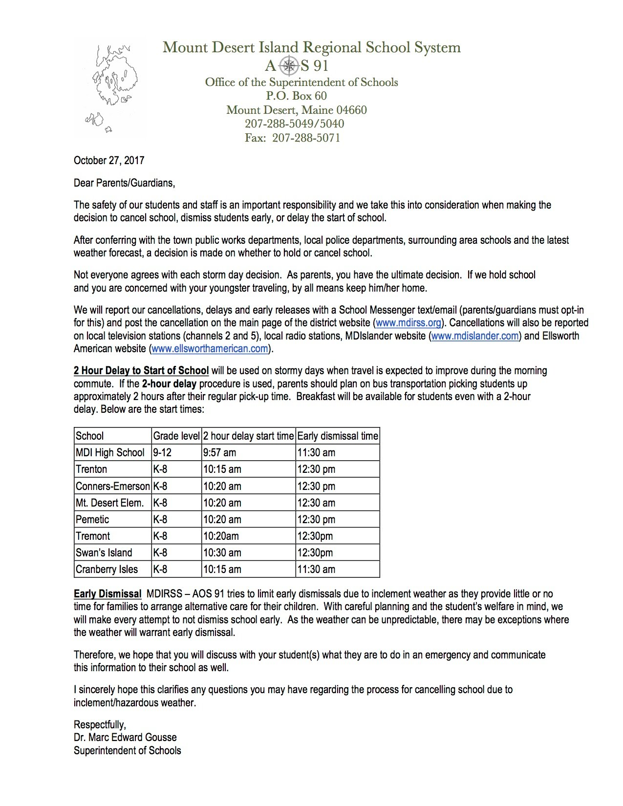 Weather Cancellation Notification - MDIRSS School Cancellations