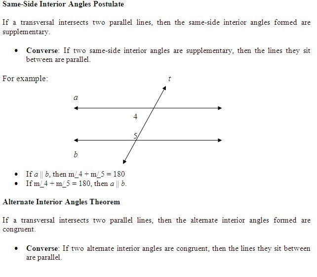 Converse: If Two Same Side Interior Angles Are Supplementary, Then The  Lines They Sit Between Are Parallel.