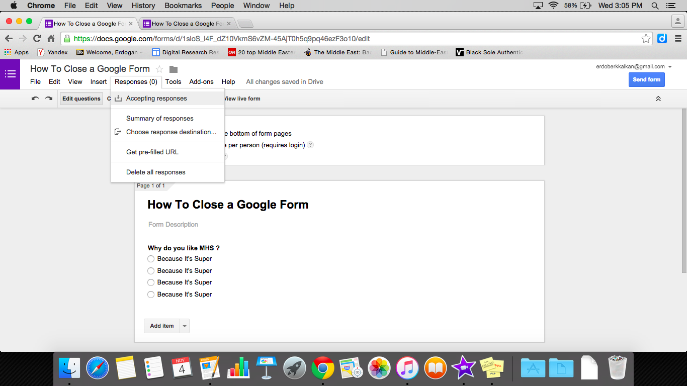 Closing A Google Form - MGSD Help Desk Portal